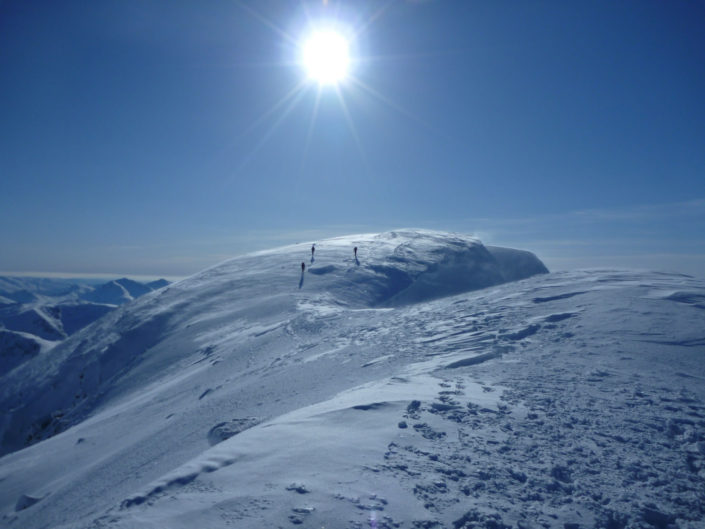 Summit of Ben Nevis after guiding Orion Face Direct