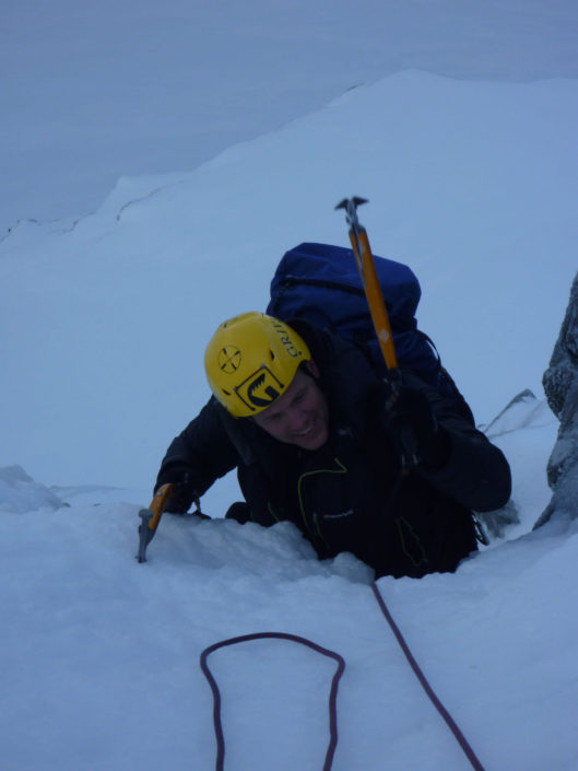Guiding classic ice climbs on Ben Nevis