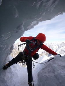 The final move into the tunnel, Aiguille du Midi
