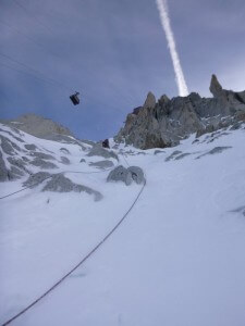 Endless snow slopes up tot he Aiguille du Midi lift