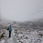 Snowy walk into Ledge Route, Ben Nevis