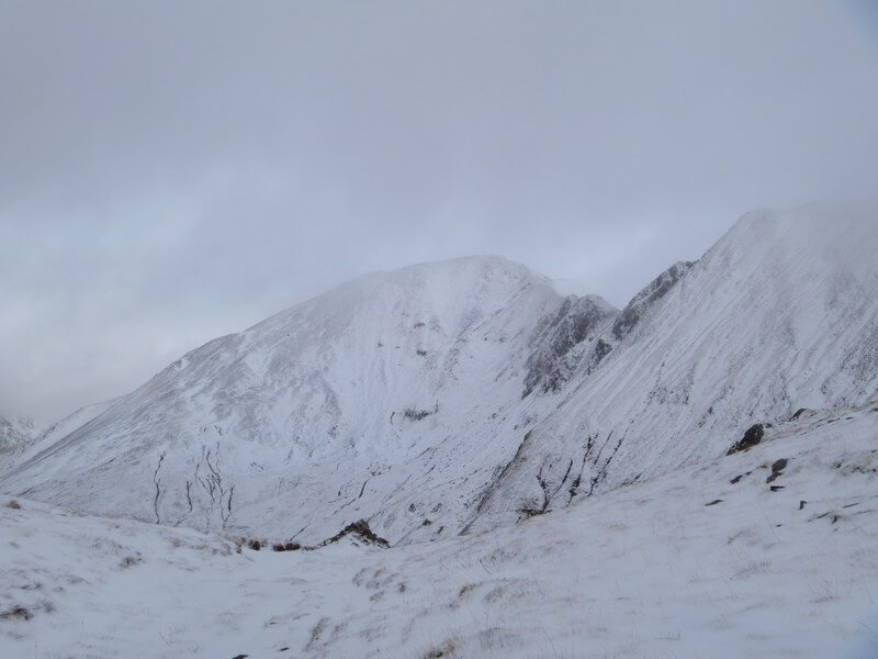 The Mamores, in the Scottish Highlands, in winter