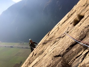 Perfect rock climbing on Gneiss slabs