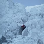 Mark on 1st pitch of Thompson's Route, Ben Nevis