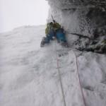 Scott setting off on P2, Closer, Bidean North top