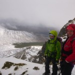 Conditions and views improving on the East Ridge of Beinn a'Chaorainn