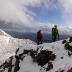Clear skies and happy mountaineers on Beinn a'Chaorainn
