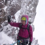 Adele at the first belay of Eastern Slant