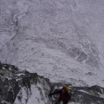 Good conditions on North Buttress, Buachaille Etive Mor