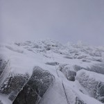 Abseiling down the line of Morwind, Aonach Mor