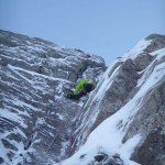 Technical moves on the crux pitch of Jacknife, Ben Nevis