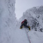 Steven leading the top pitch of Comb Gully