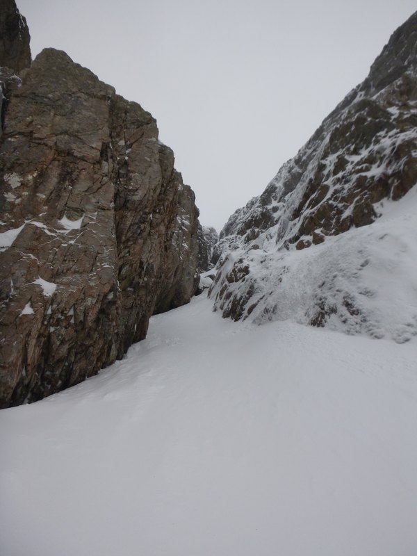 Looking up Crowberry Gully