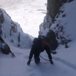 Sele lead climbing in Deep North Gully