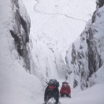 Above the crux step in Deep North Gully