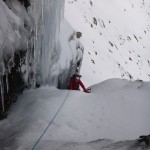 Gavin finishing pitch 1 Escape from Colditz, Blaven on a winter climbing course