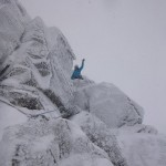 Hannah enjoying winter climbing on pitch 2, Flake Route
