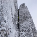 Inside the narrow slot of Flake Route