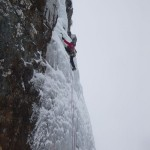 Mark climbing the finest icefall in the UK!