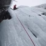 Great ice climbing on Pitch 2 of Mega Route X