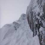 Brilliant ramp of snow/ice climbing
