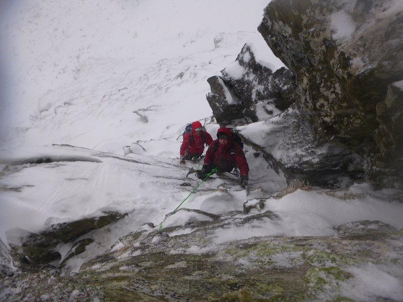 On the crux of the East Ridge of Stob Ban