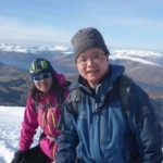 On the summit of Ben Nevis in winter
