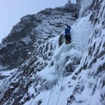 Steep ice to gain the corner of The Clanger.