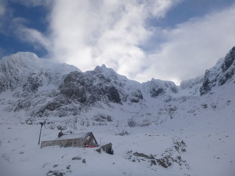 The CIC Hut, beneath the cliffs of Ben Nevis
