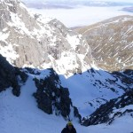 Shaun enjoying ice climbing in Green Gully, Ben Nevis