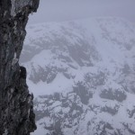 Climbers on the Eastern Traverse on Tower Ridge.