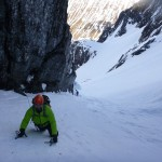 Kevin learning to lead climb in No 2 Gully