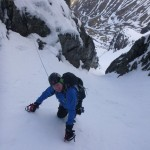 John learning to lead climb in No. 2 Gully