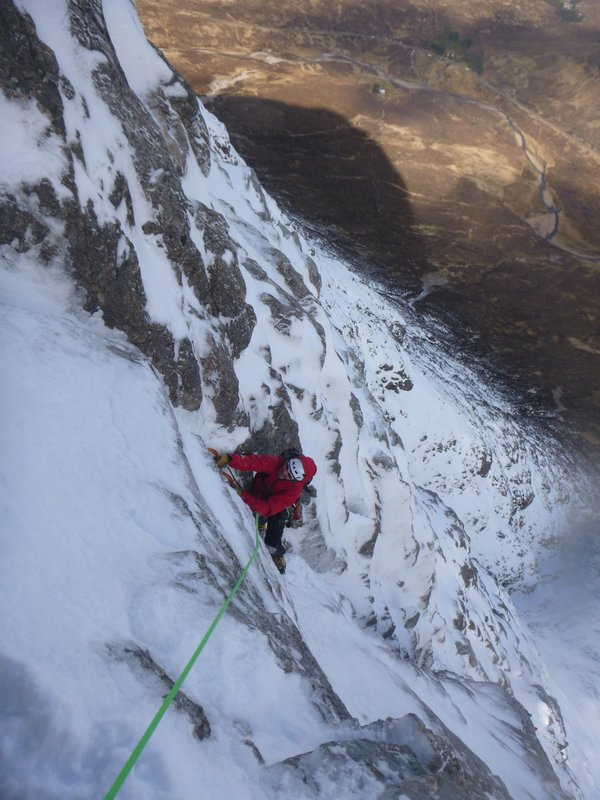 Gary giving it some beans on the final technical pitch of North Buttress.