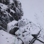 Good cover of snow on the SW Ridge of the Douglas Boulder, Ben Nevis