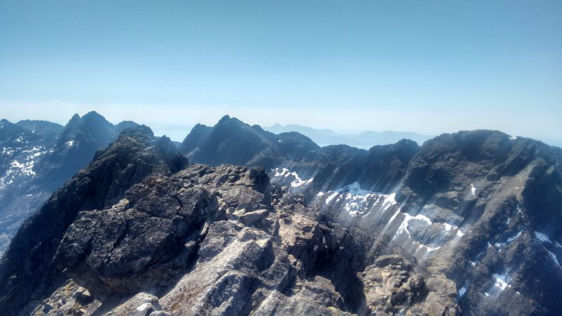 Looking south along the Cuillin Ridge