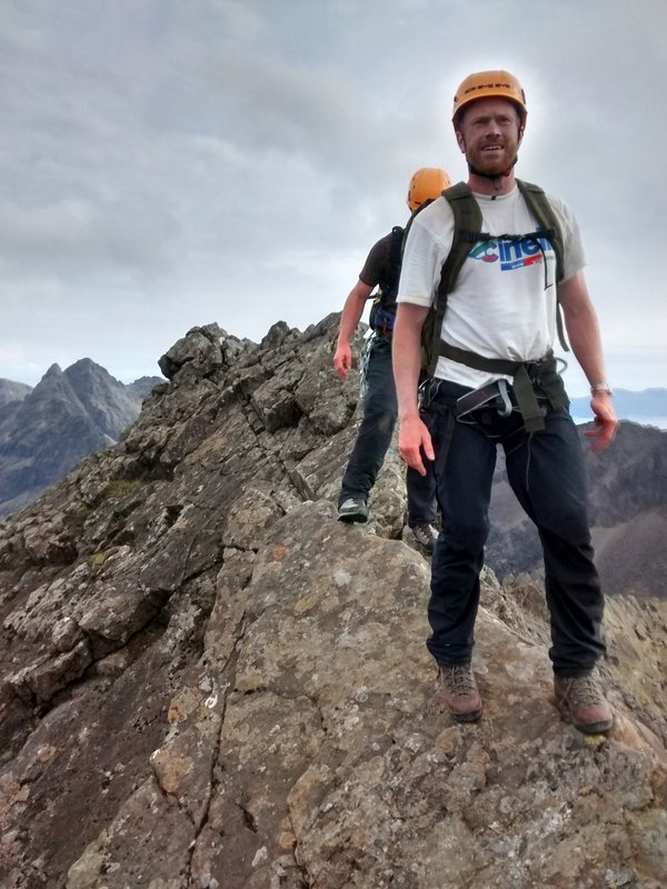 Skipping across dry rock on the Cuillin Ridge