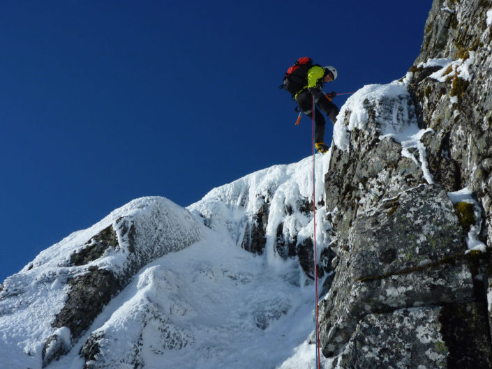 Teaching essential skills on our Advanced Winter Climbing Course