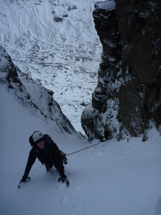 Becoming independent on one of our winter climbing course