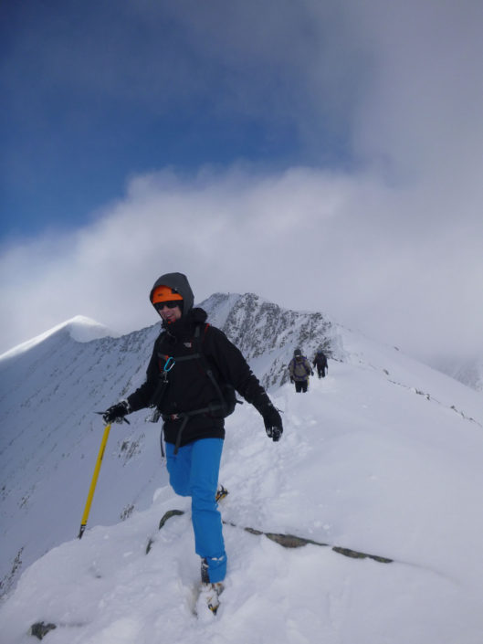On the Carn Mor Dearg Arete in winter