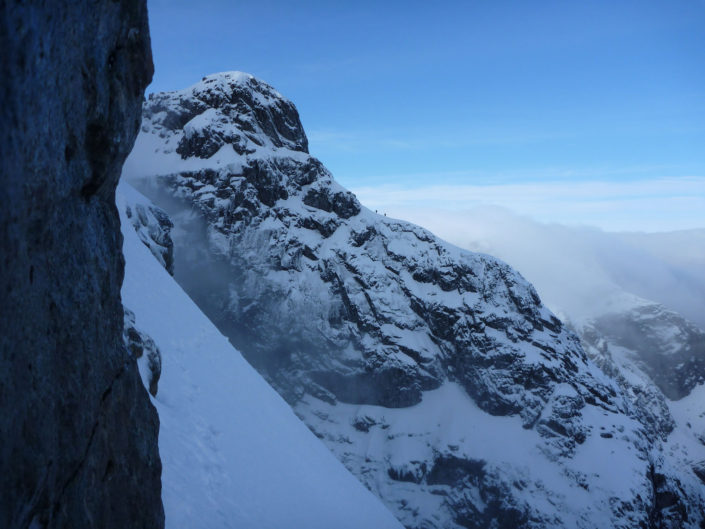 Winter mountaineering on Ben Nevis' great ridges
