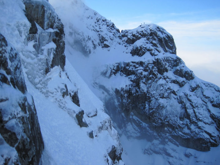 Winter climbers being guided on Tower Ridge