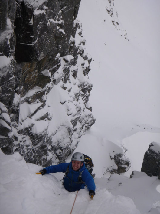 Climbing the classic Raeburn's Route on our Advanced Winter Climbing Course