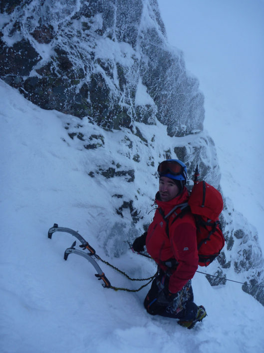 Coached lead climbing on Forgotten Twin on Aonach Mor.
