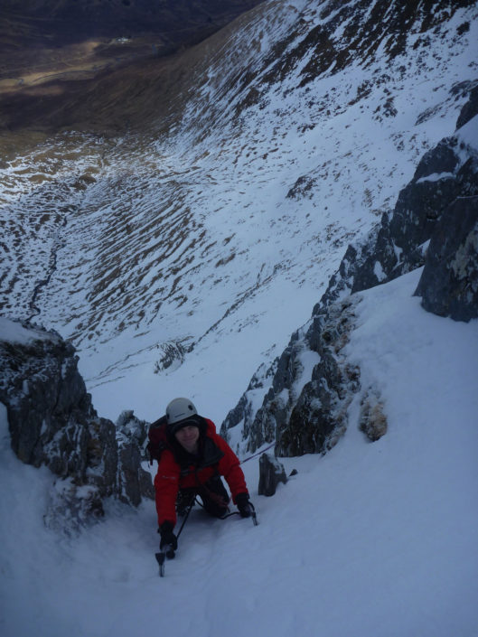 Coached lead climbing on one of our advanced winter climbing courses