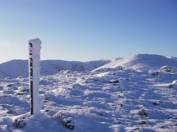 Rime on the fence posts on Creag Meagaidh