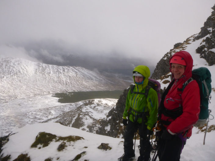 East ridge of Beinn a'Chaorainn on our winter mountaineering course
