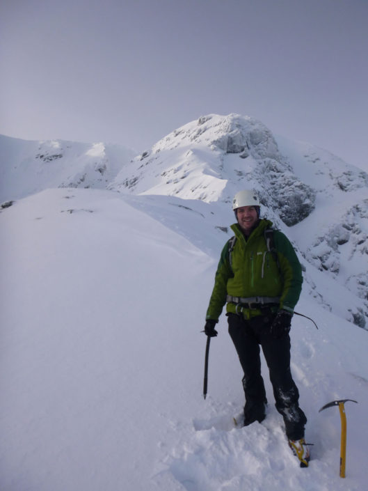 Good snow on the winter mountaineering route of Ledge Route, Ben Nevis