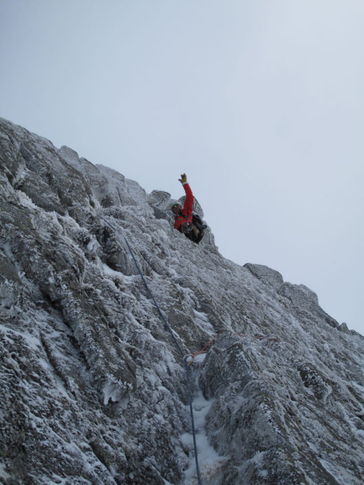 Guiding Daim Buttress on one of our Scottish Winter Climbing Courses