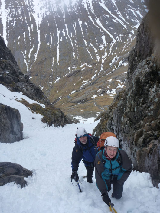 Heading up towards Ledge Route on a winter mountaineering course